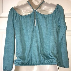 26197c31307807 American Rag Tops - American Rag Dusty Turquoise cold shoulder top